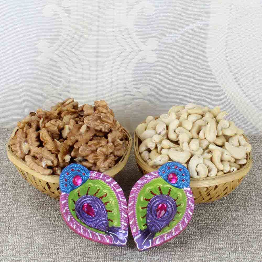 Walnut and Cashew with Earthen Diya