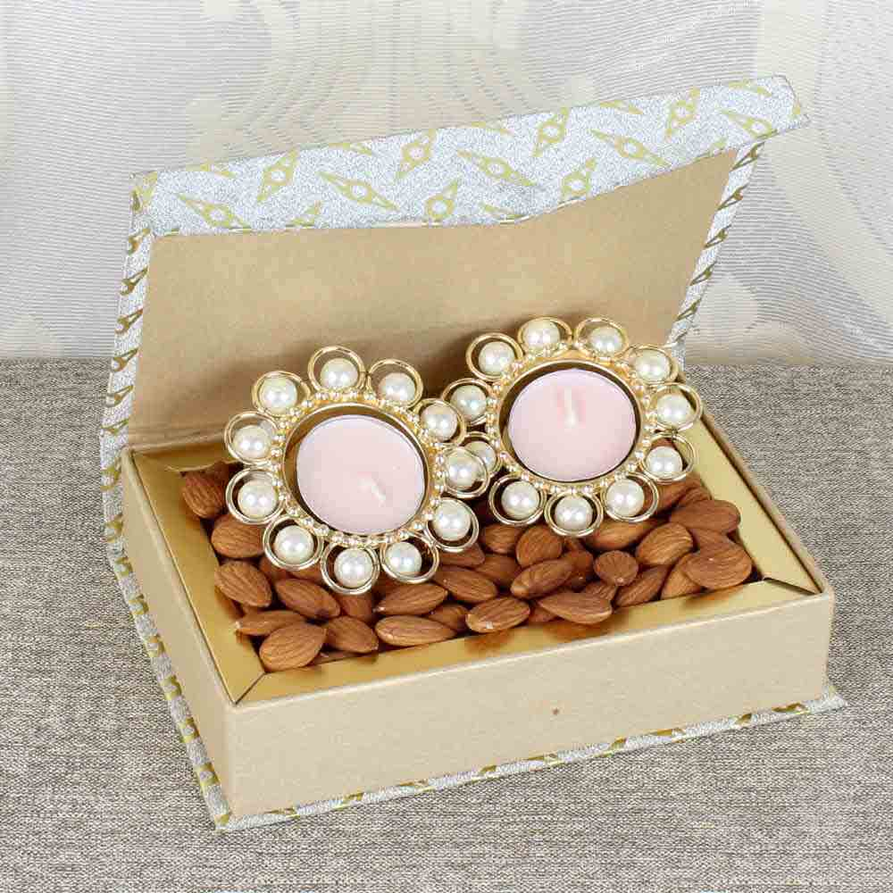 Pearl Metal Diya with Almond Box
