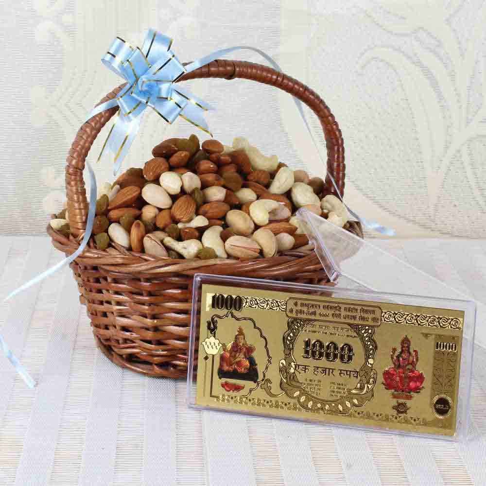 Assorted Dry Fruit Basket with Gold Plated Note