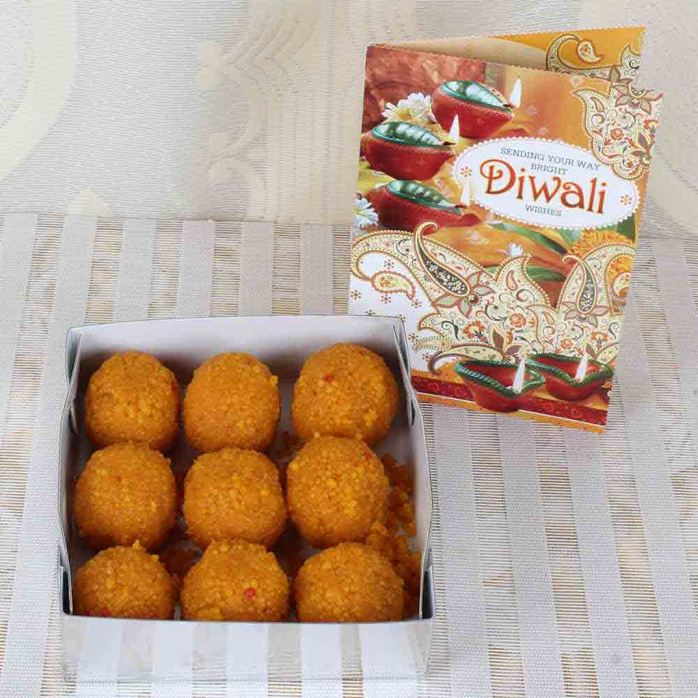Motichur Ladoo Sweets with Diwali Card