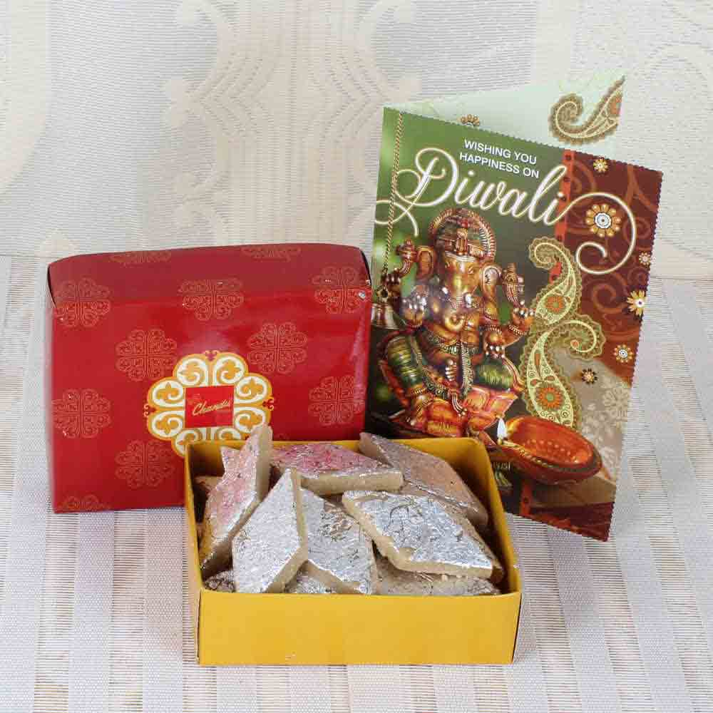 Kaju Katli Sweets with Diwali Greeting