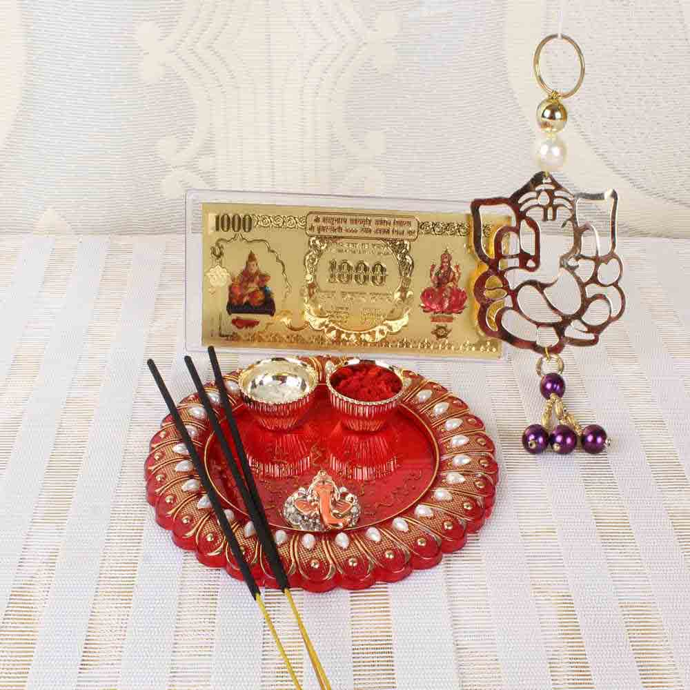 Acrylic Designer Thali with Ganesha Hanging and Kuber Lakshmi Note