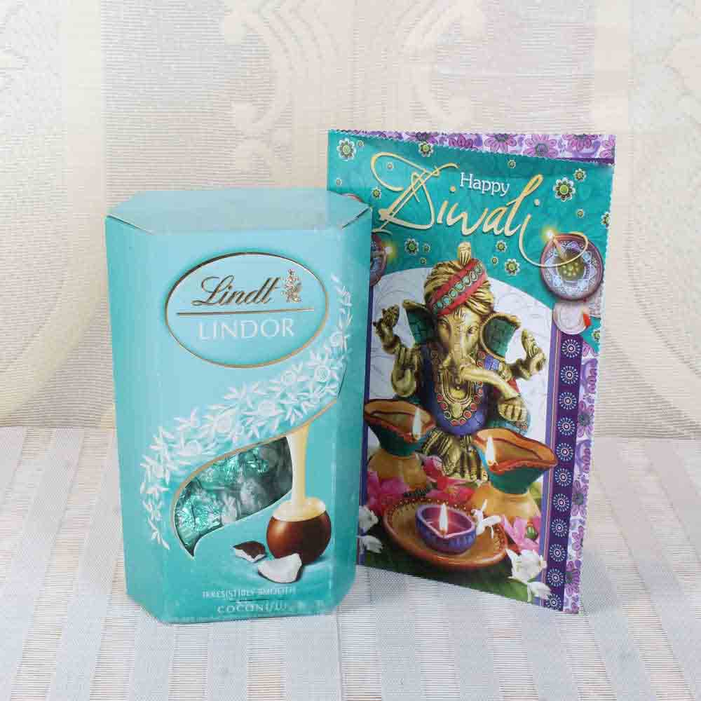 Diwali Hampers-Lindt Lindor Coconut Chocolate with Diwali Greeting Card