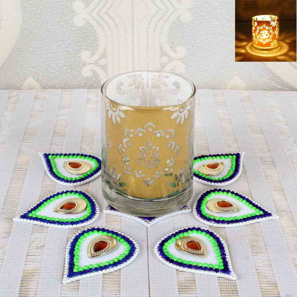 Diwali Pattern Rangoli with OM Ganesha Design Shadow Glass Diya