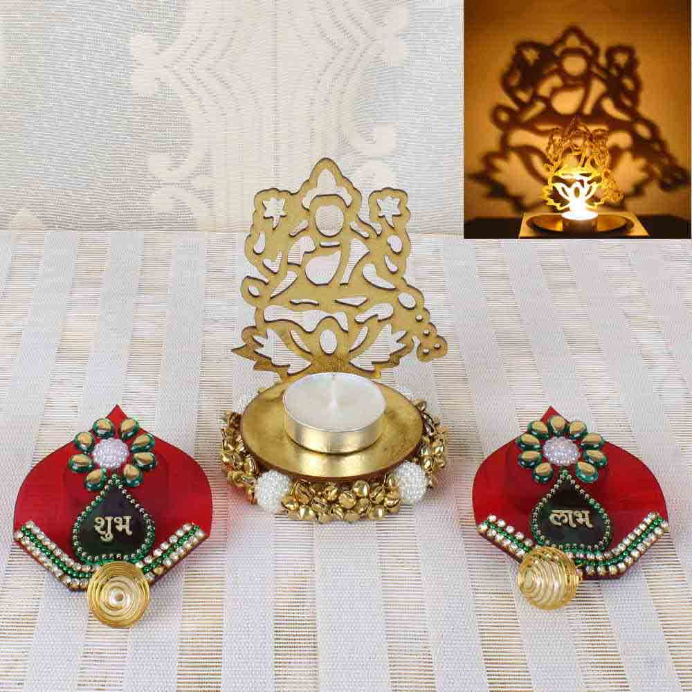 Diwali Acrylic Laxmi Shadow Diya with Shubh Labh Door Hanging