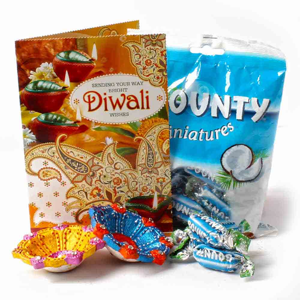 Pack of Bounty Minature Chocolates with Earthen Diyas