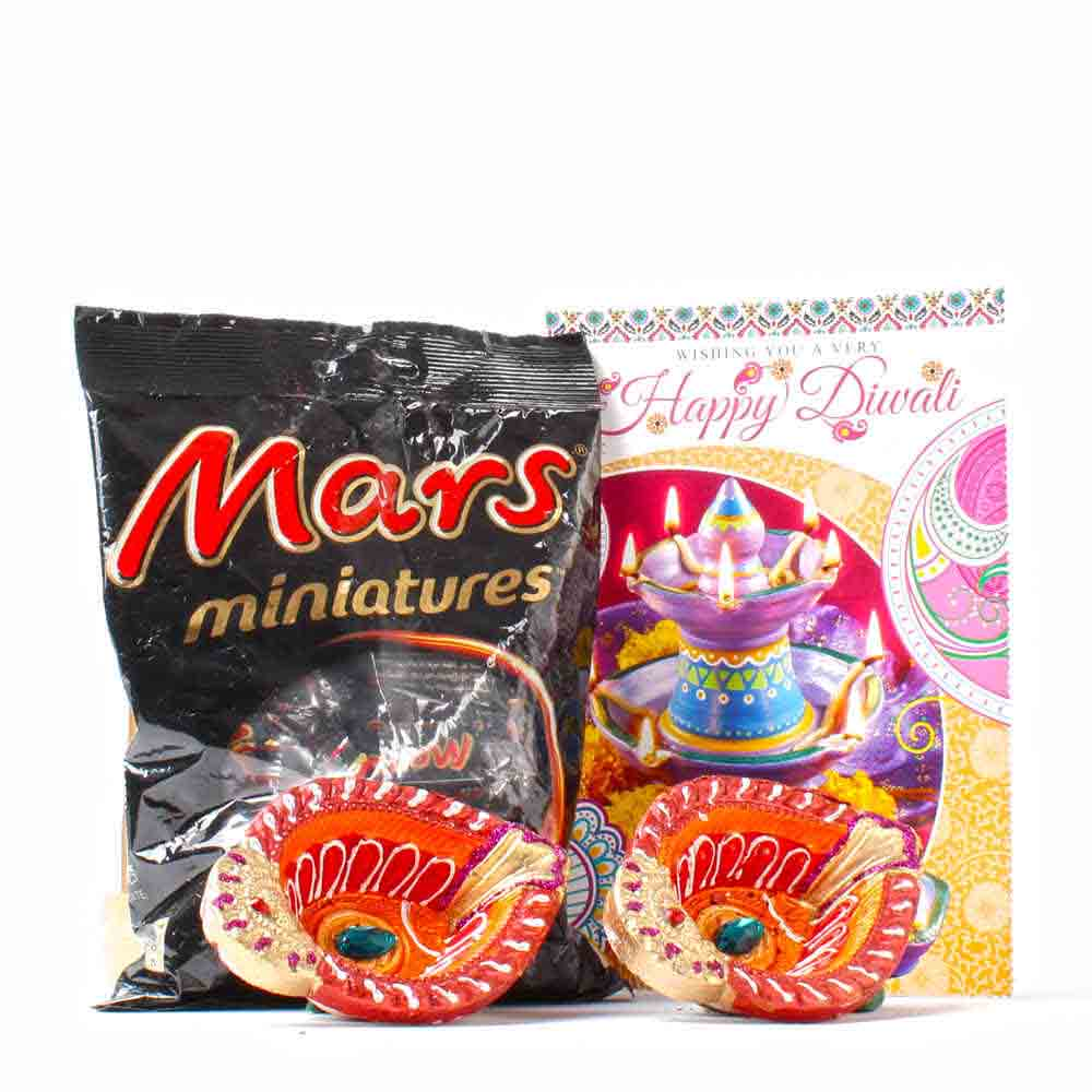Mars Minature with Earthen Diya and Diwali Card
