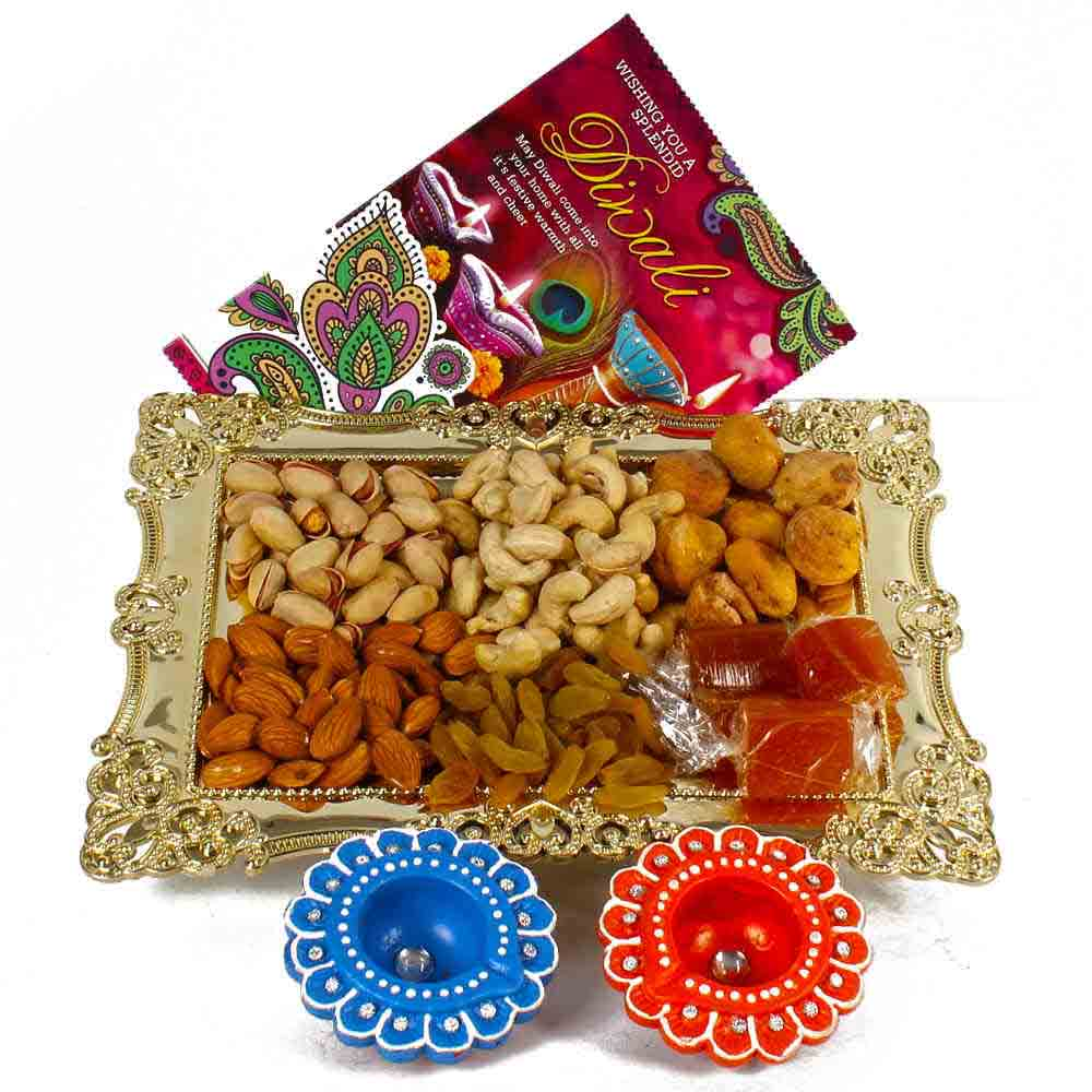 Diwali Hampers-Diwali Card and Mix Dryfruit Tray with 2 Earthen Diyas