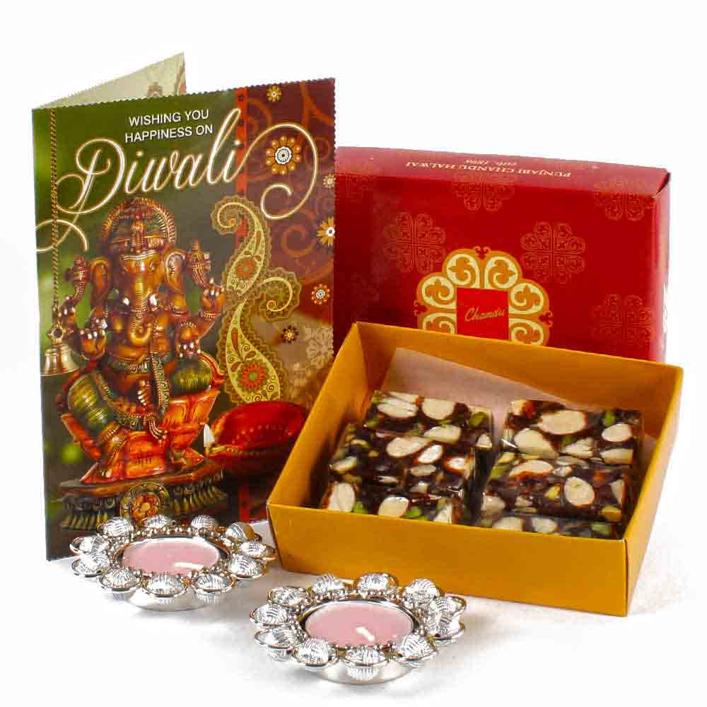Diwali Hampers-Sugarfree Assorted Dryfruit Sweet with Metal Diya and Greeting Card