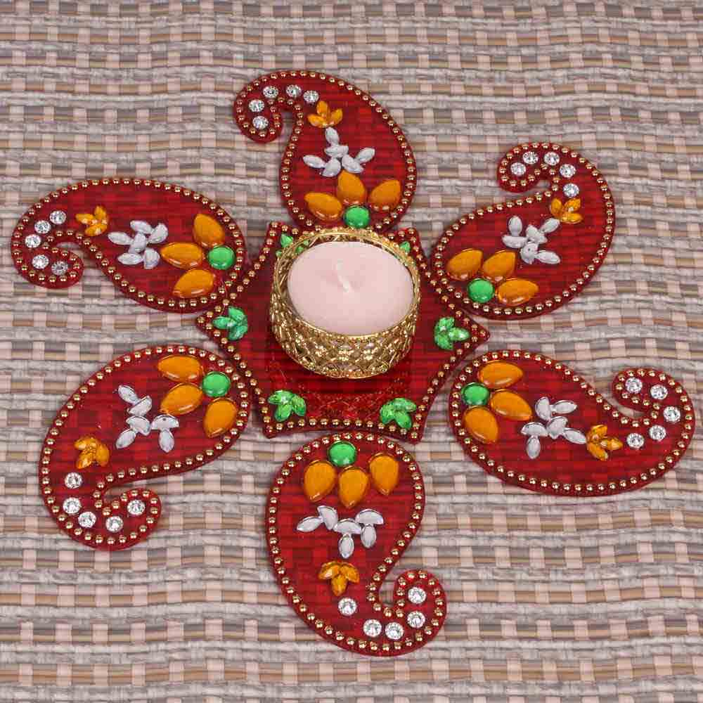 Acrylic Artificial Kuyri Shaped Rangoli