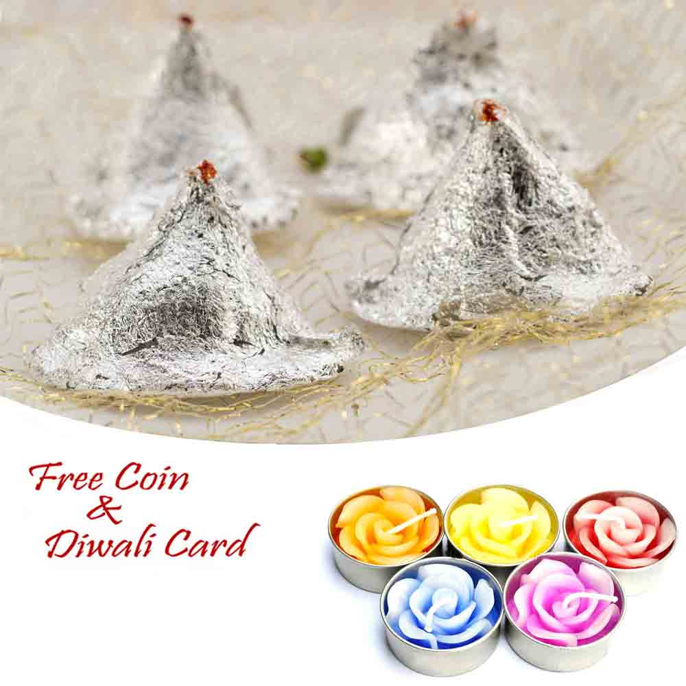 Kaju Samosa with 5pc Floating Diyas