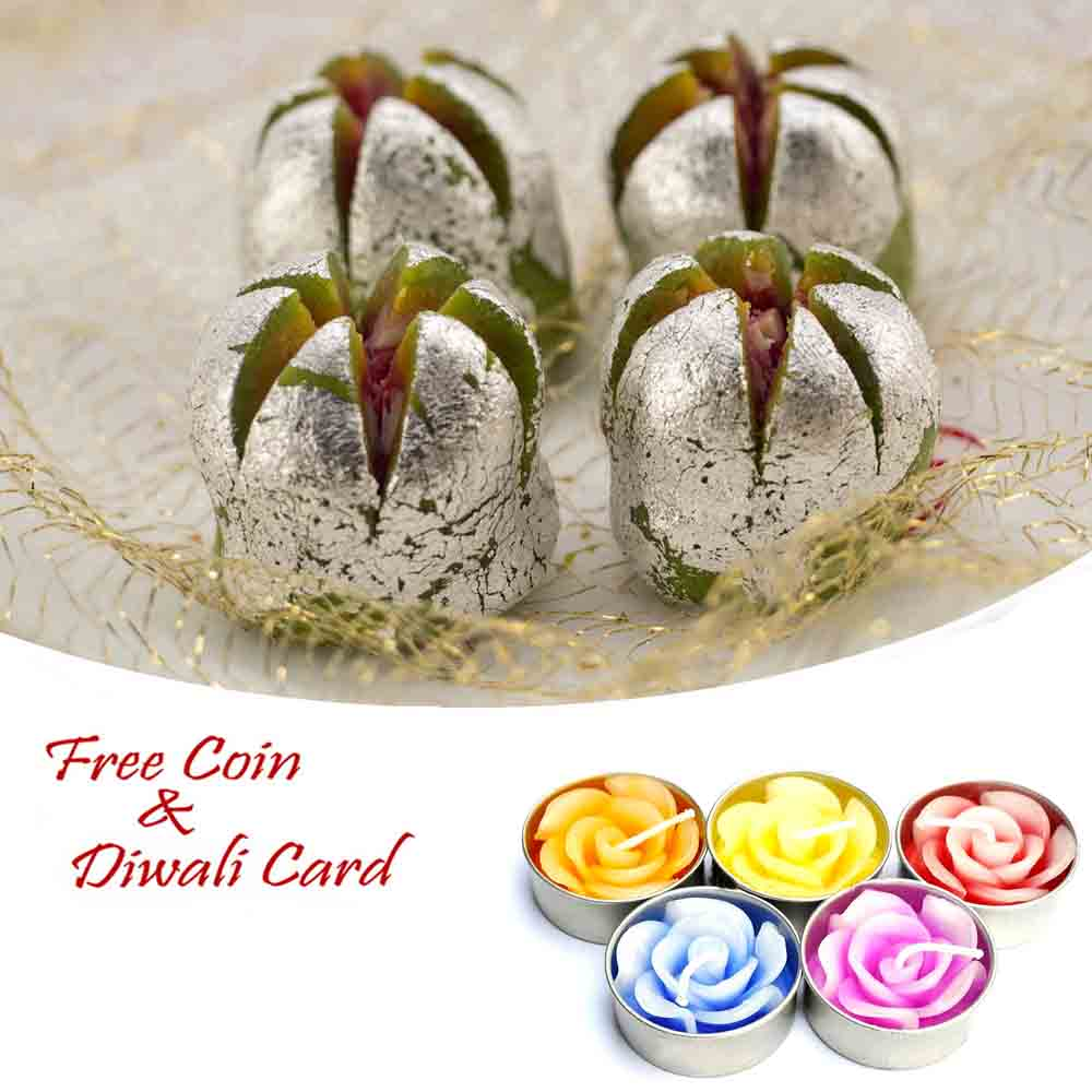 Kaju Anar Sweet with 5pc Floating Diyas