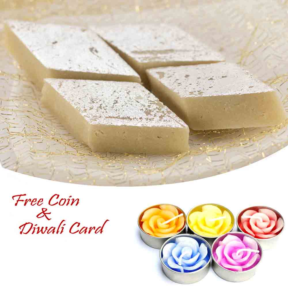 Kaju Katli Sweet with 5pc Floating Diyas