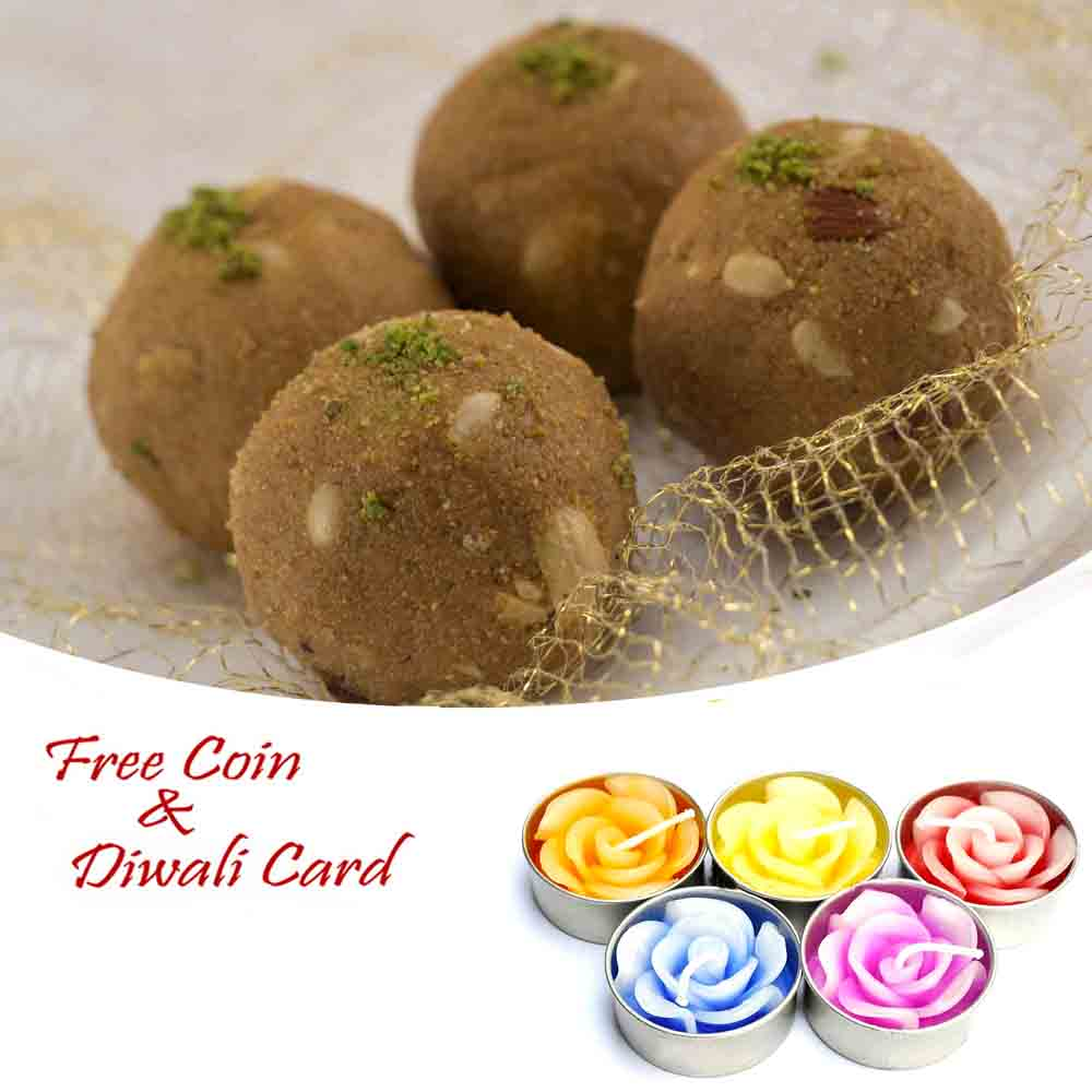 Gond Dryfruit Laddu with 5pc Floating Diyas