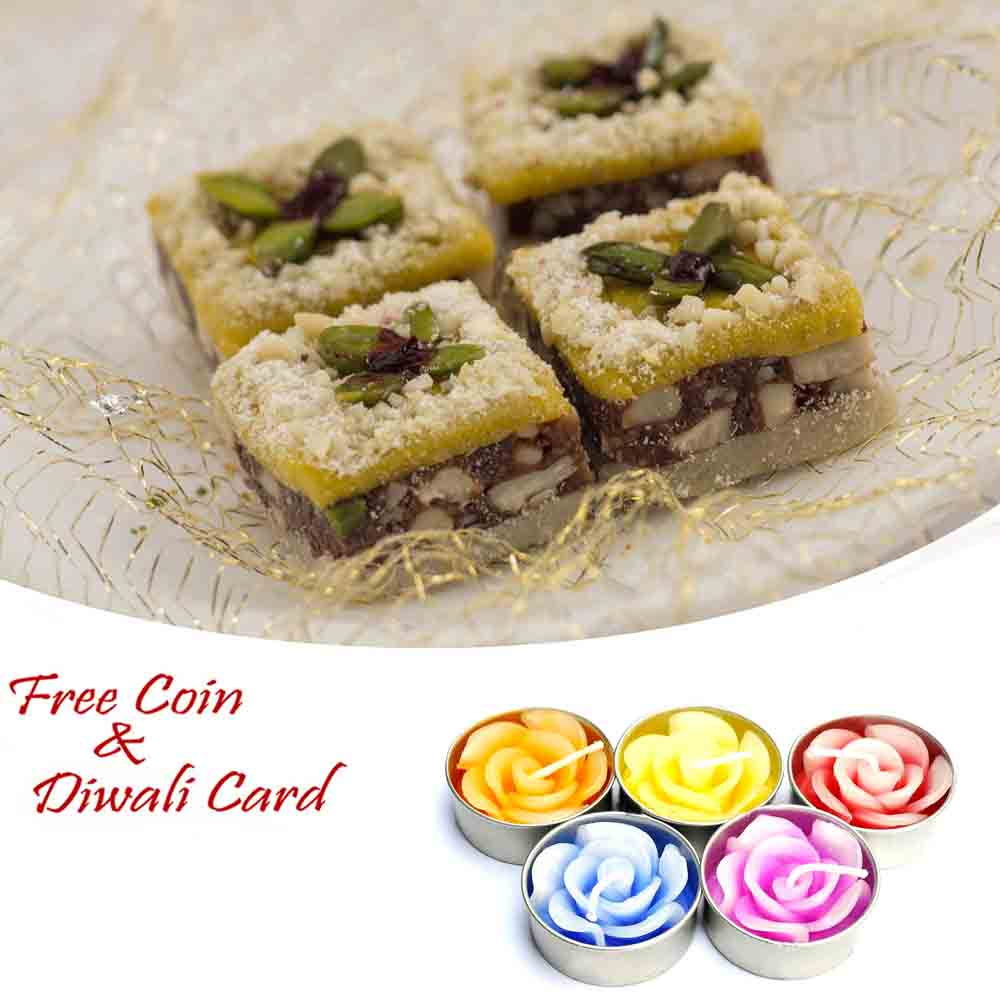Dryfruit Sangam Sweet with 5pc Floating Diyas