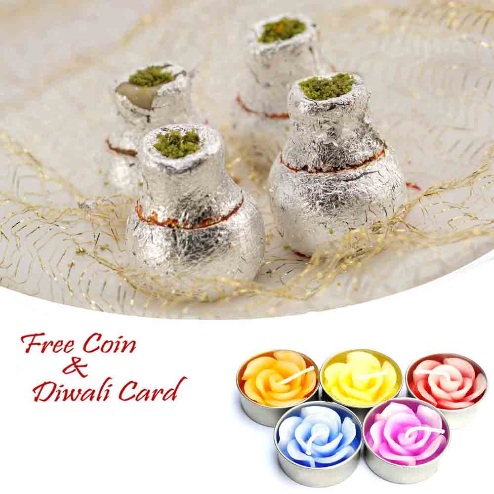 Kaju Kalash Sweet with 5pc Floating Diyas