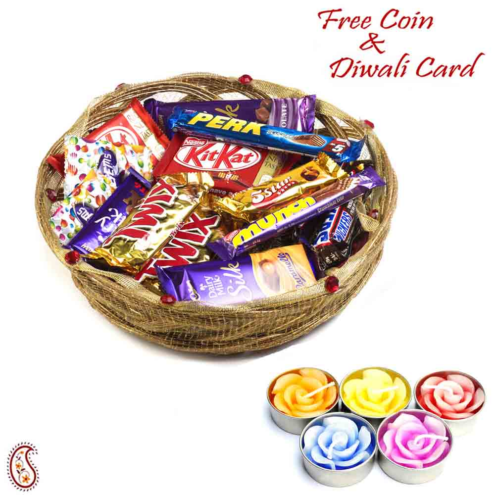 Assorted Chocolate Basket with Rakhi