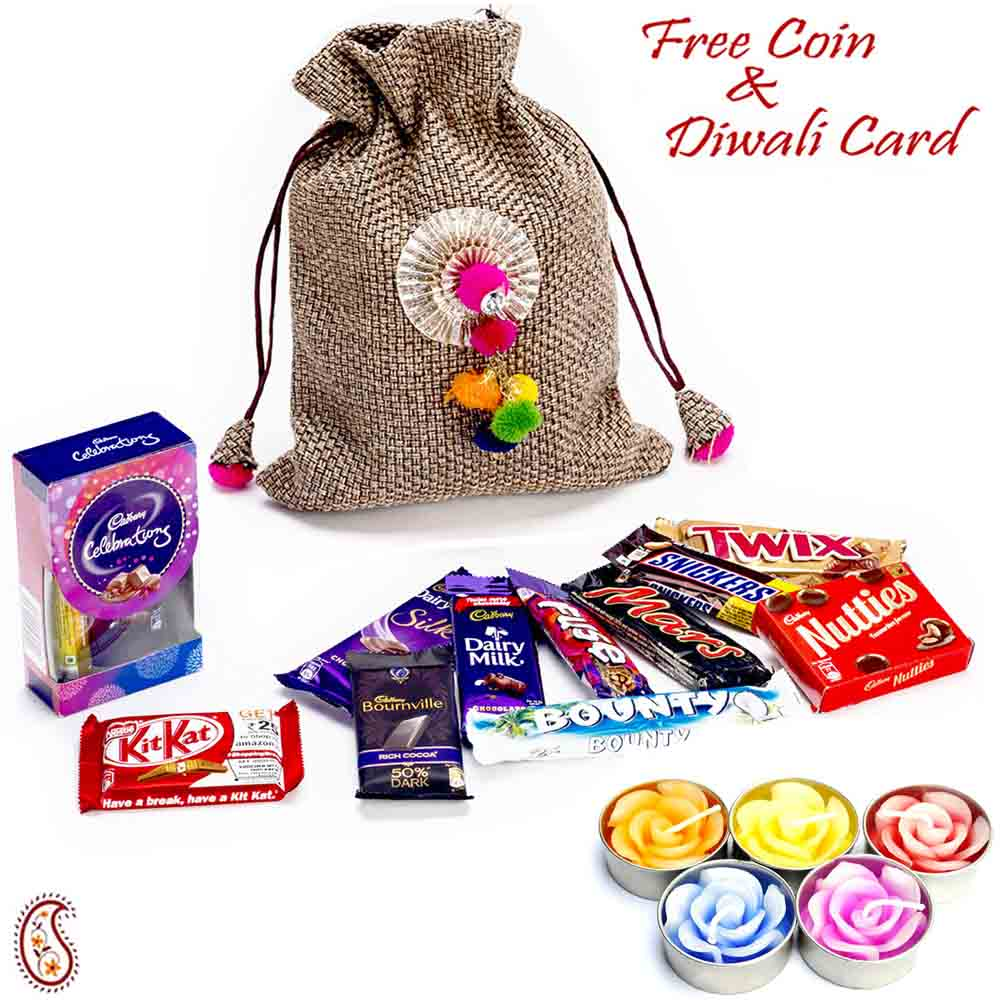 Beautiful Pouch Bag with Rakhi & Chocolate Hamper