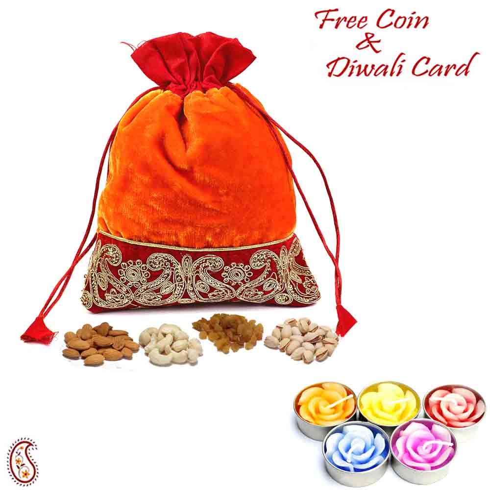 Zari work Velvety Dry fruit Pouch and Diwali Hamper