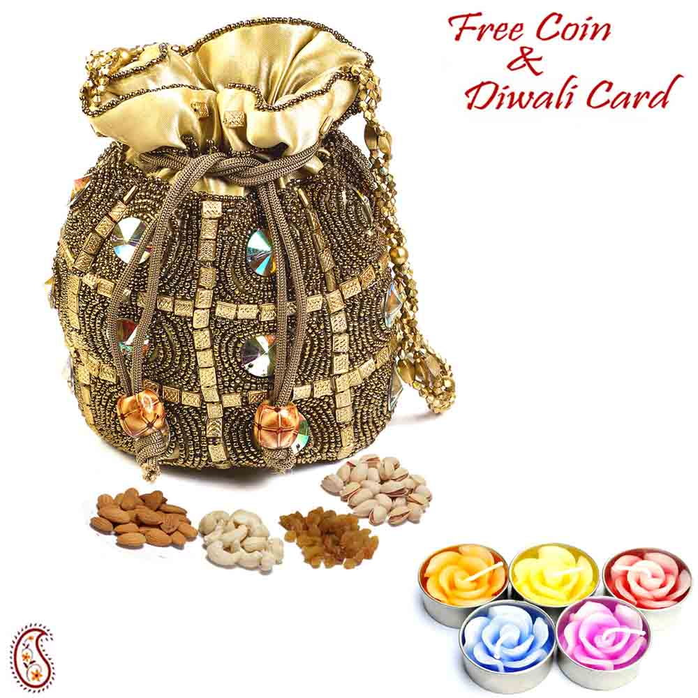 Golden Crystal studded Dry fruit Pouch and Diwali Hamper