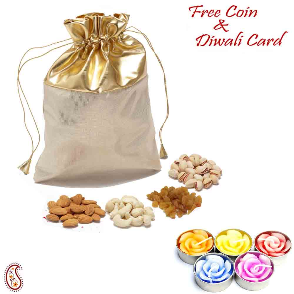 Golden Leatherite Dry fruit pouch with Diwali