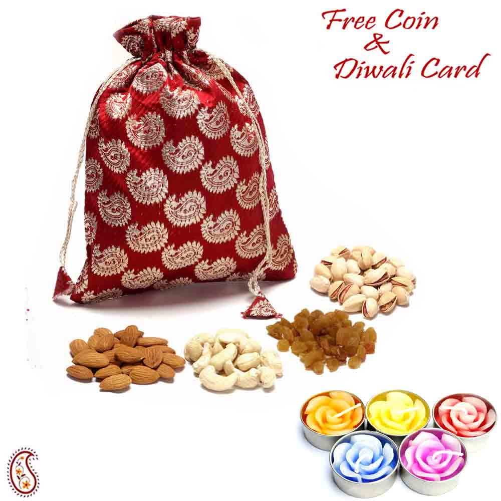 Brocade Silk Dry fruit pouch with Diwali