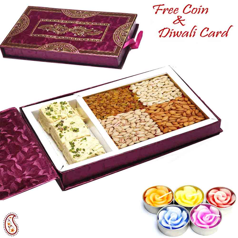 Mix Dryfruit Gift Box with Soan Papdi & Rudraksh Diwali