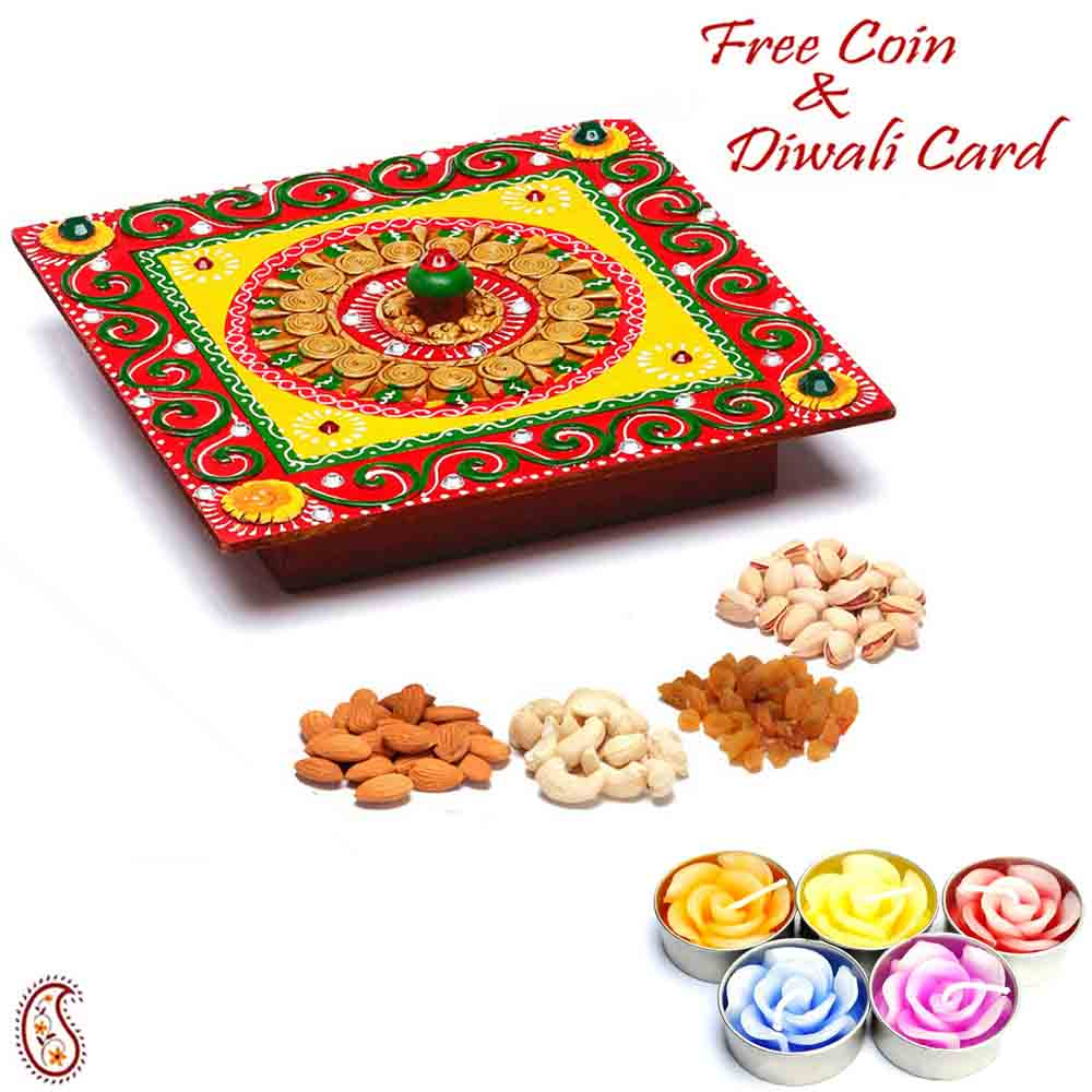 Square Designer Box with Dryfruits & Diwali