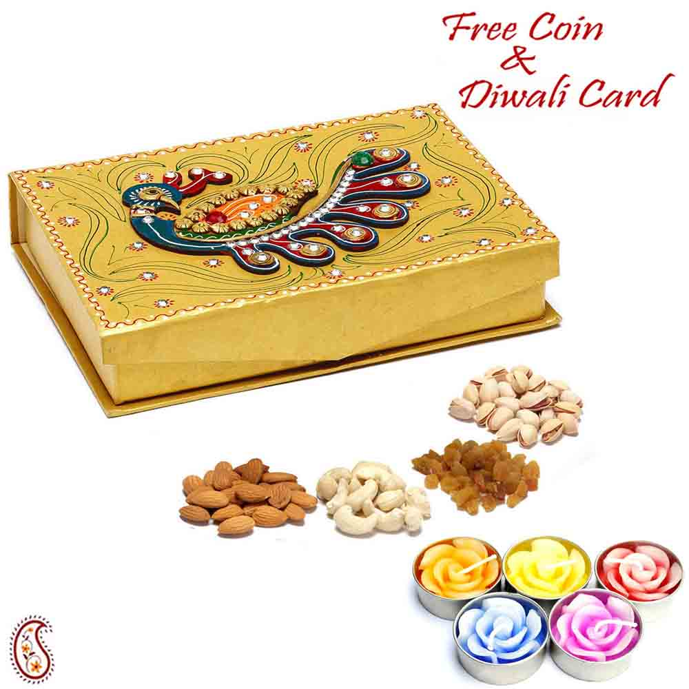Peacock Design Golden Drufruit Box with Diwali