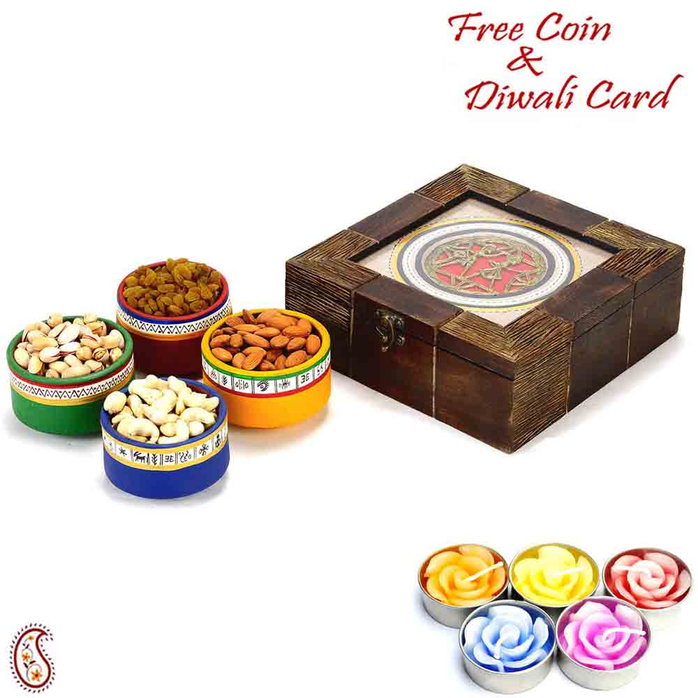 Wooden Box with Multicolour Terracota Dryfruit containers and Diwali