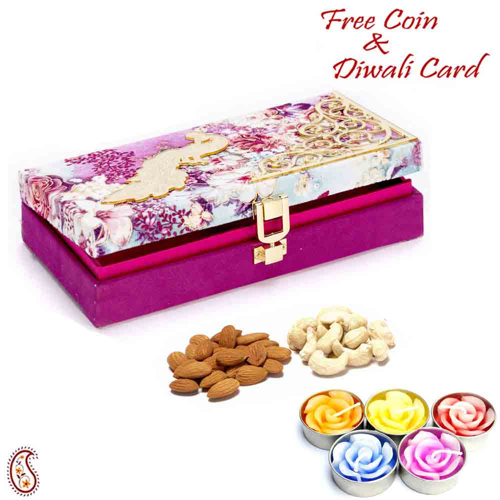 Purple Floral Dryfruit Box with 1 Diwali