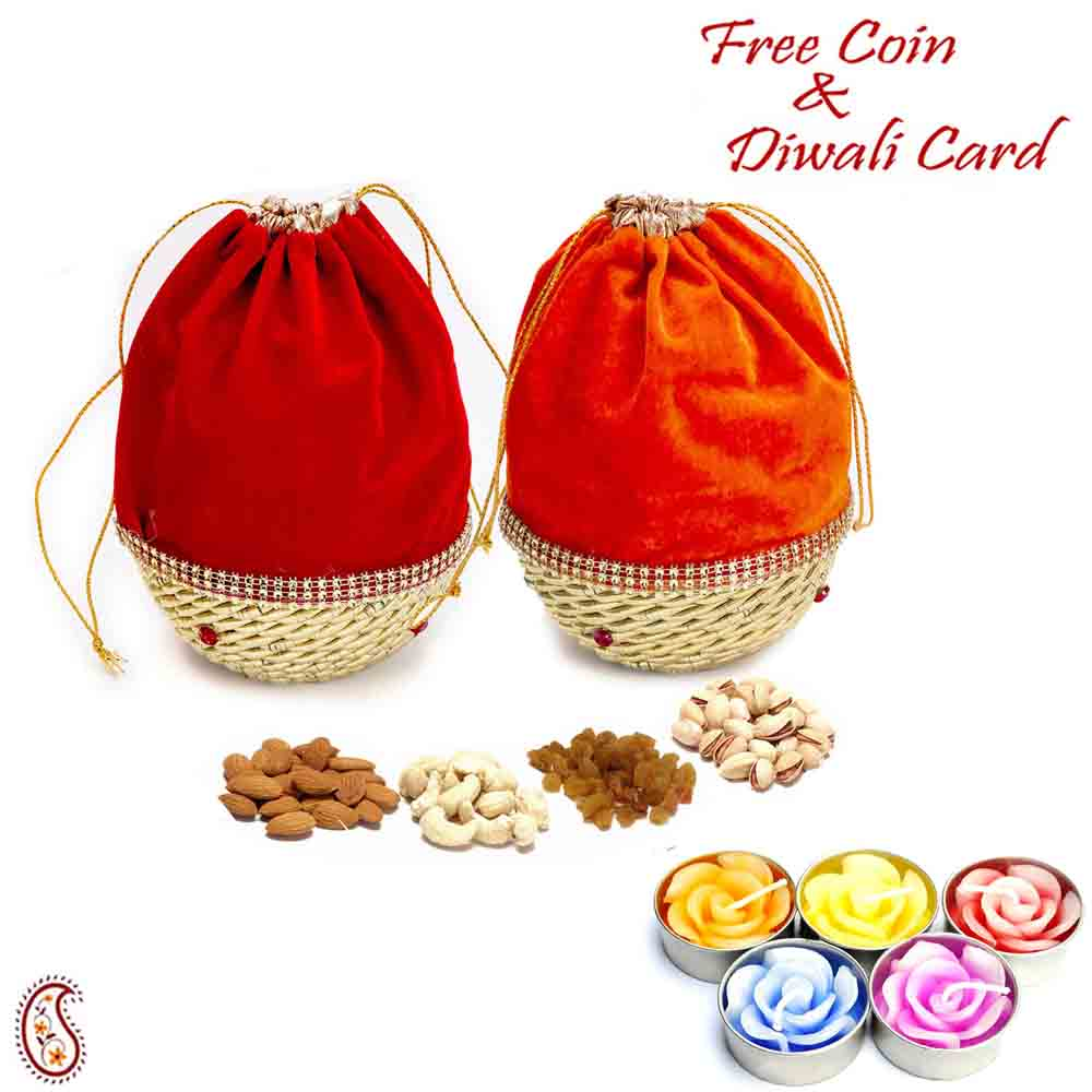 Red & Orange 2 Dryfruit Pouch Bags with 1 Diwali