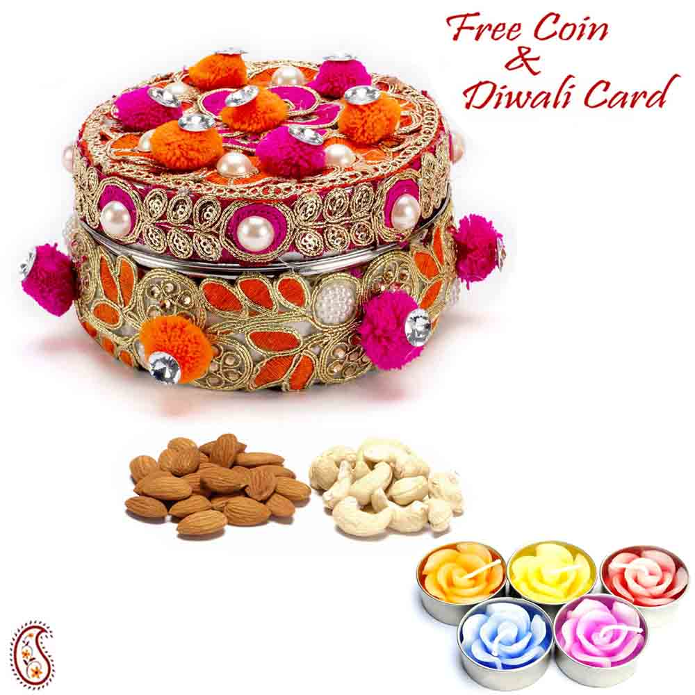 Red & Orange Cotton Balls Dryfruit Box with 1 Diwali