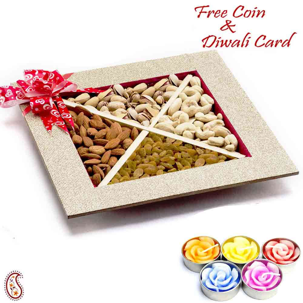 Square Dryfruit Box with 1 Diwali