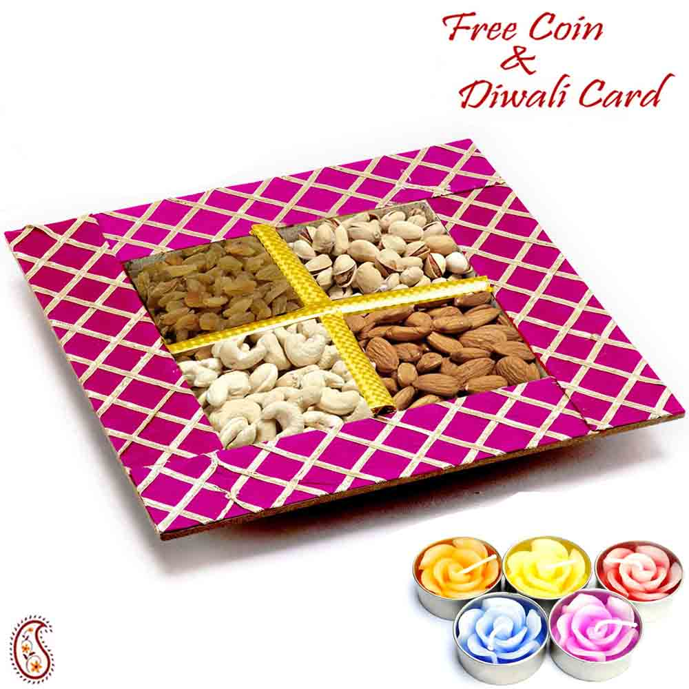 Purple Dryfruit Gift Box with 1 Zardosi Diwali