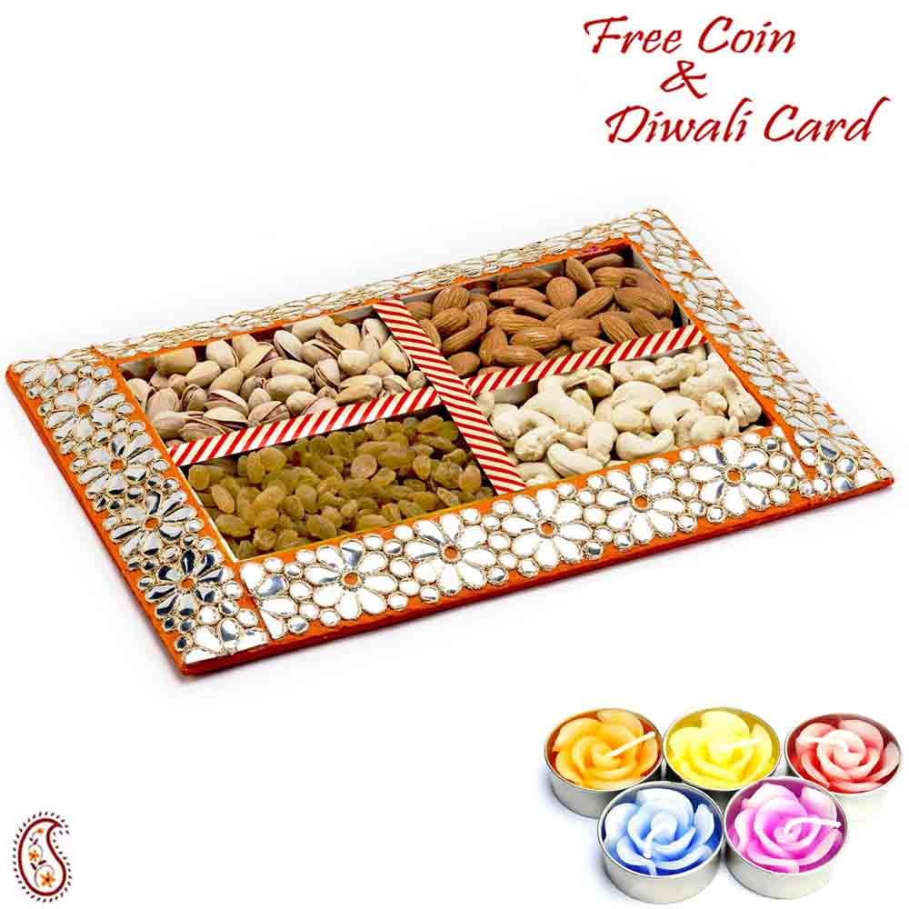 Floral Design Dryfruit Gift Box with 1 Diwali