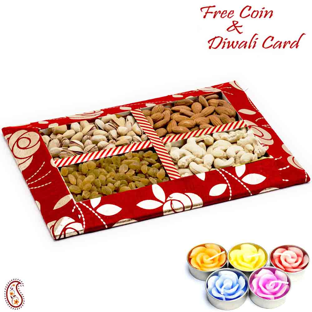 Red Floral Design Dryfruit Gift Pack with 1 Diwali