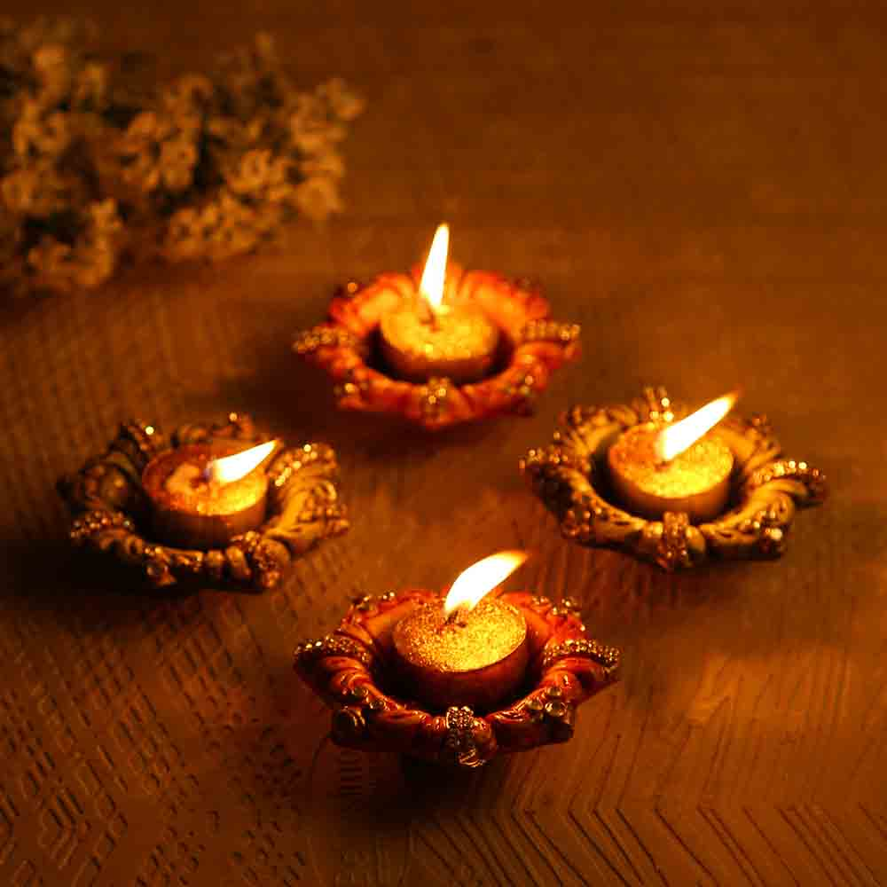 Floral Shape Wax Filled Diya Candles (Set of 4)