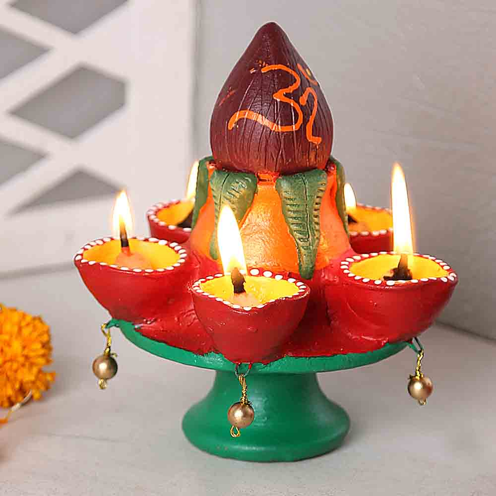 Diwali Diyas-4 Faced Kalash Terracota Diya