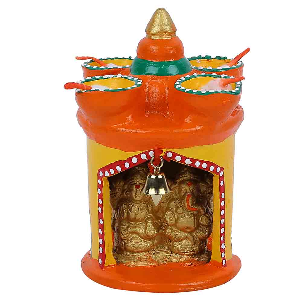 Small Terracotta Laxmi Ganesh Temple With 4 Deepak