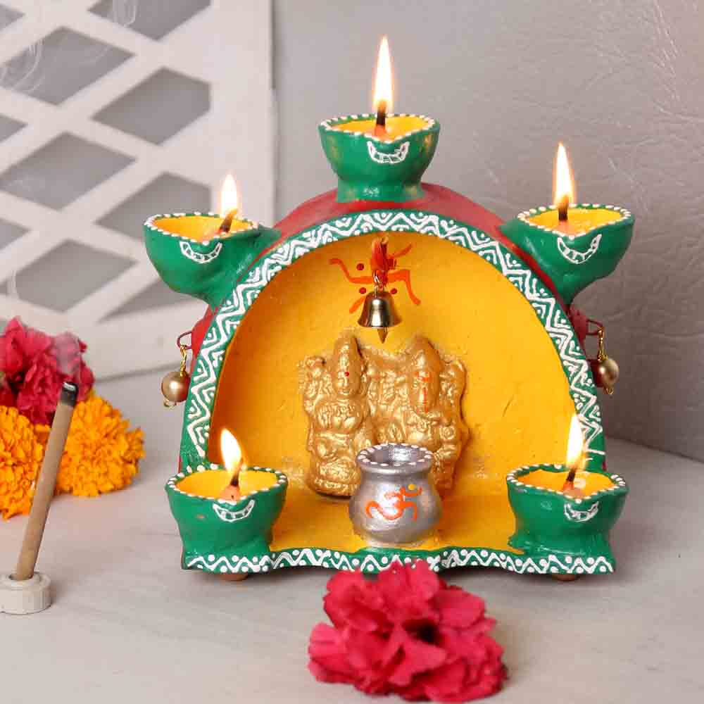 Diwali Diyas-Oval Terracotta Laxmi Ganesh Temple With Five Deepak