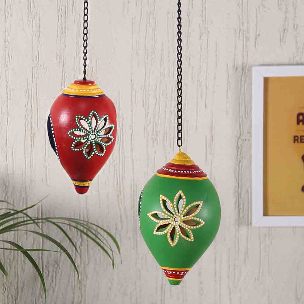 Diwali Lanterns-Green & Red Wall Hanging Holder