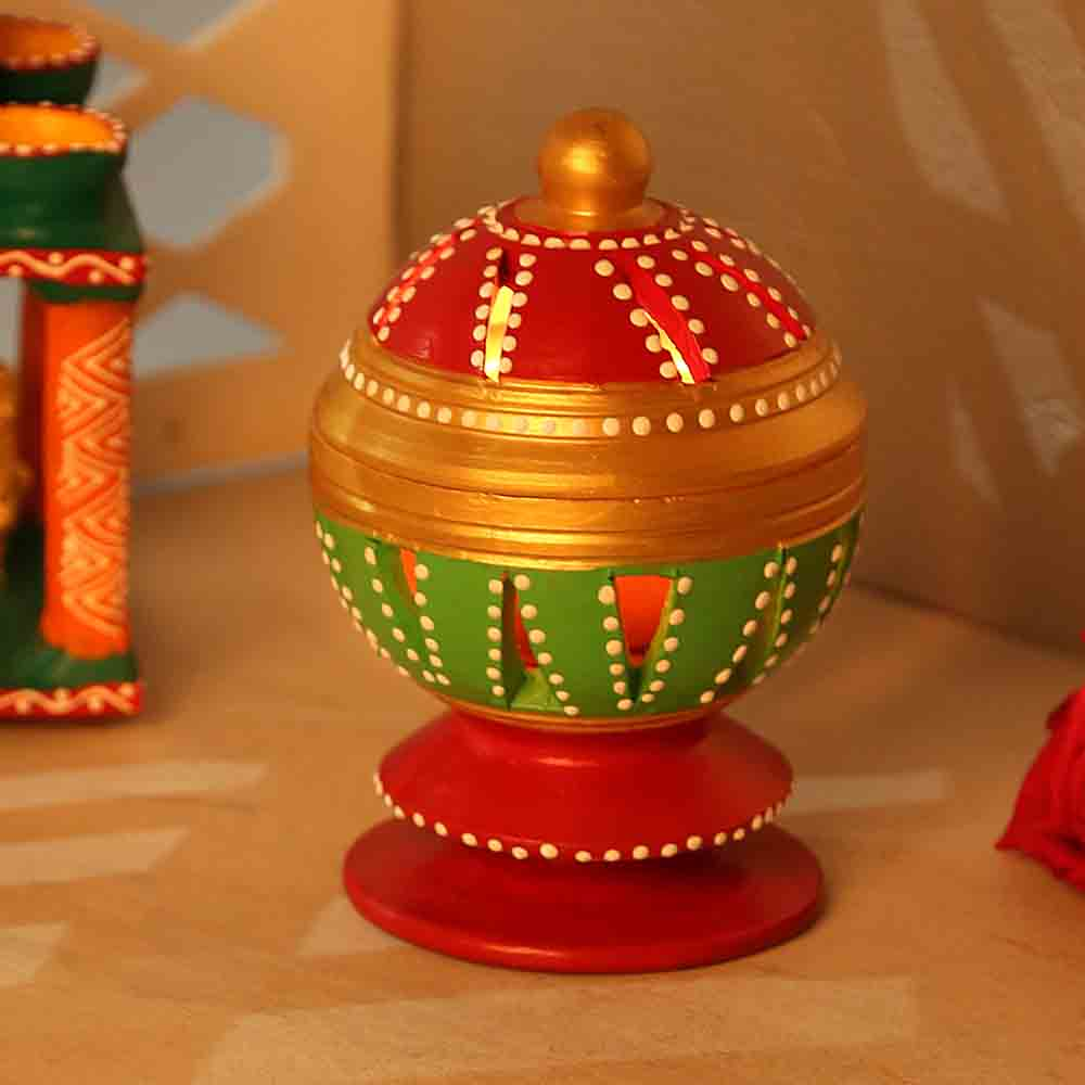 Diwali Lanterns-Openable Terracota Tealight Holder In Red