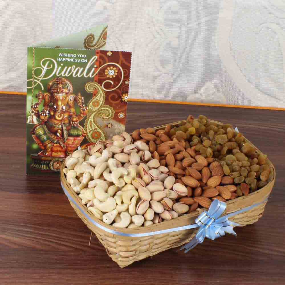One Kg Assorted Dry fruit Basket with Diwali Greeting Card