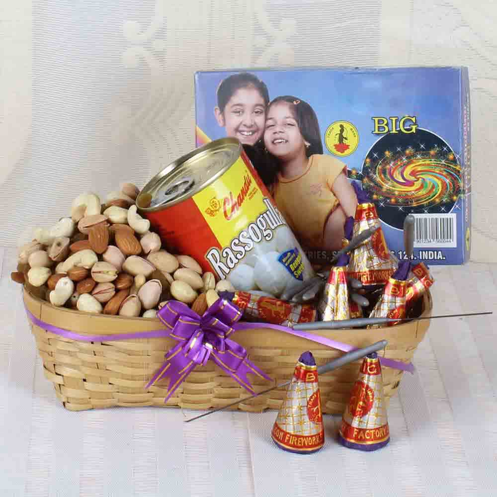 Diwali Fire Crackers and Rasgulla Sweets with Assorted Dry fruit Basket