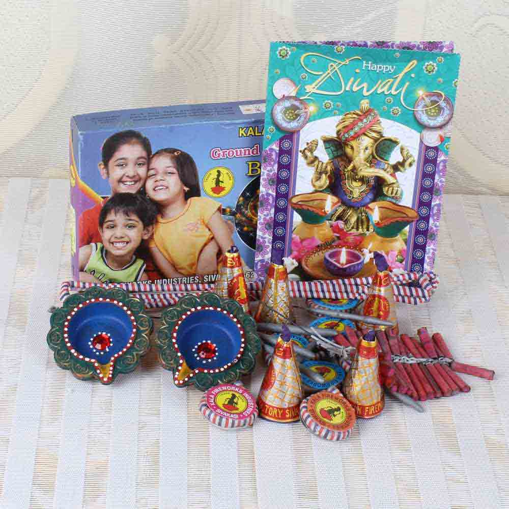 Diwali Crackers Combo Including Greeting Card with Earthen Diyas