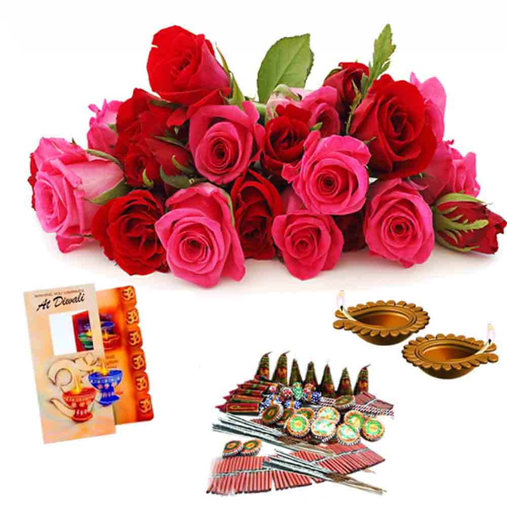Roses with Diwali Crackers Combo