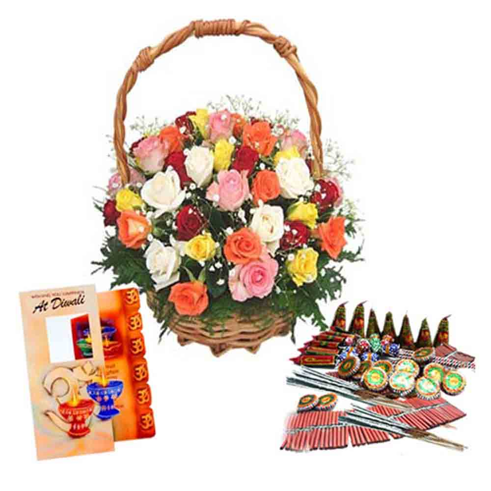 Fire Cracker and Diwali Greeting Card with Basket of Colorful Roses