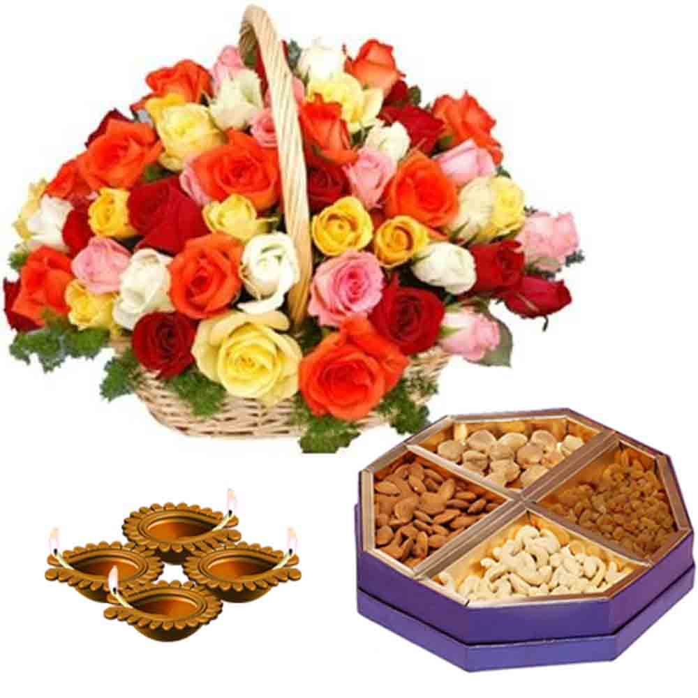 Diwali Diyas with Dryfruits and Basket of Roses