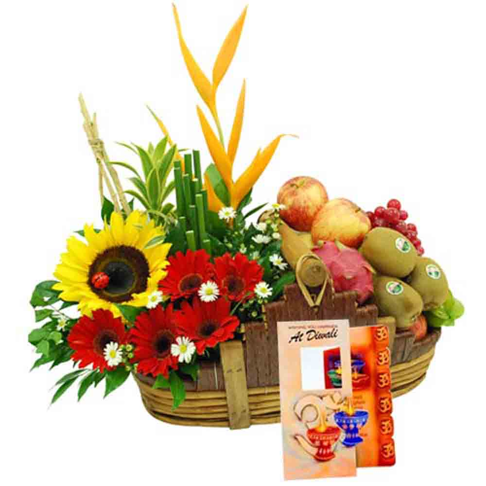Diwali Special Basket of Flowers and Fruits